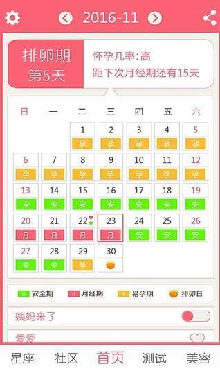 排卵期安全期日历软件下载